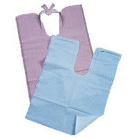 "Tidi Blue Contour Neck Patient Bibs with Neck Tie (18"" x 25"") 1 Ply Paper"