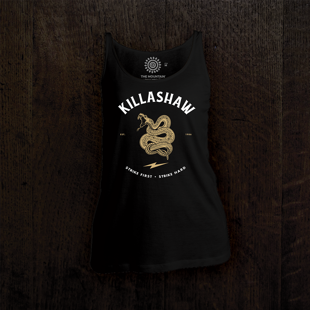"TJ Dillashaw Women's Tank Top in black. ""Strike First"" design features a snake emblem."