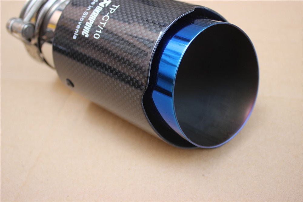 Akrapovic Glossy Carbon Fiber Exhaust Tip Blue End Stainless Steel Muffler, , Immortal Customs, Immortal Customs - Immortal Customs
