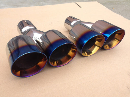 Dual Burnt Tip Grilled Muffler Exhaust Stainless Steel