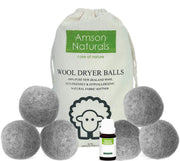 Wool Dryer Balls (Grey Colour) 6 Pack XL Extra Large -comes with FREE BONUS Essential oil bottle - Amson Naturals