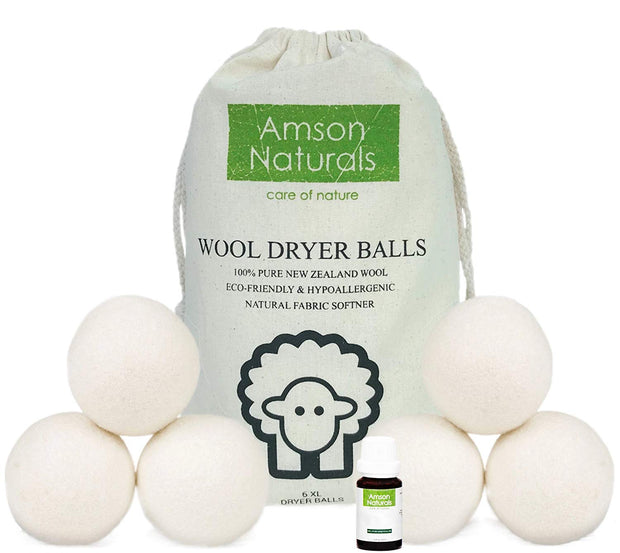 Wool Dryer Balls 6 Pack XL Extra Large - Amson Naturals