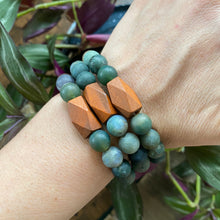 Fancy Jasper and Wood Bracelet