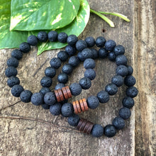 Lava Rock and a Wood Bracelet, Large