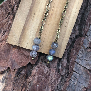 Labradorite Chain Earrings