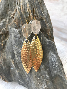 Golden Rutilated Quartz Brass Alluring Earrings