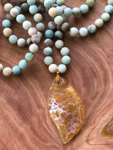 Orange Agate and Amazonite Mala