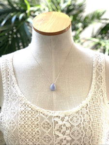 Blue Lace Agate on Sterling Silver Chain