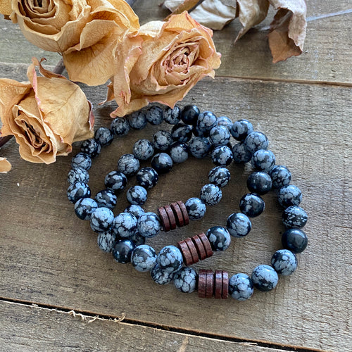 Snowflake Obsidian and Wood Bracelet, Large