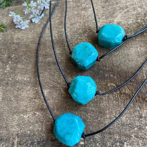 Amazonite on Leather Knotted Cord