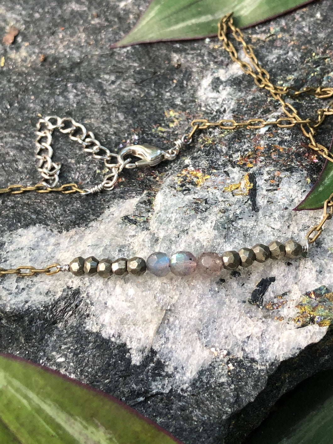 Labradorite and Pyrite Bar Necklace