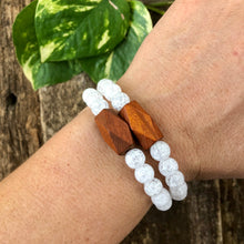 Crackle Quartz and Wood Bracelet