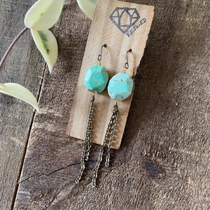 Chrysoprase and Vintage Dangle Earrings