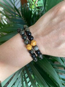 Gold Sheen Obsidian and Wood Bracelet