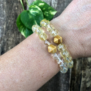 Honey Citrine and Wood Bracelet