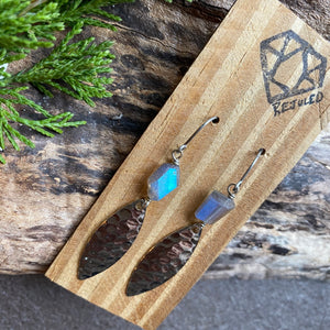 Labradorite and Fishing Lure Earrings