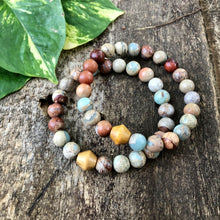 Sea Sediment Jasper and Wood Bracelet