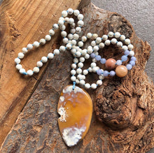 Orange Agate, Magnesite, Aquamarine and Orange Jade Mala