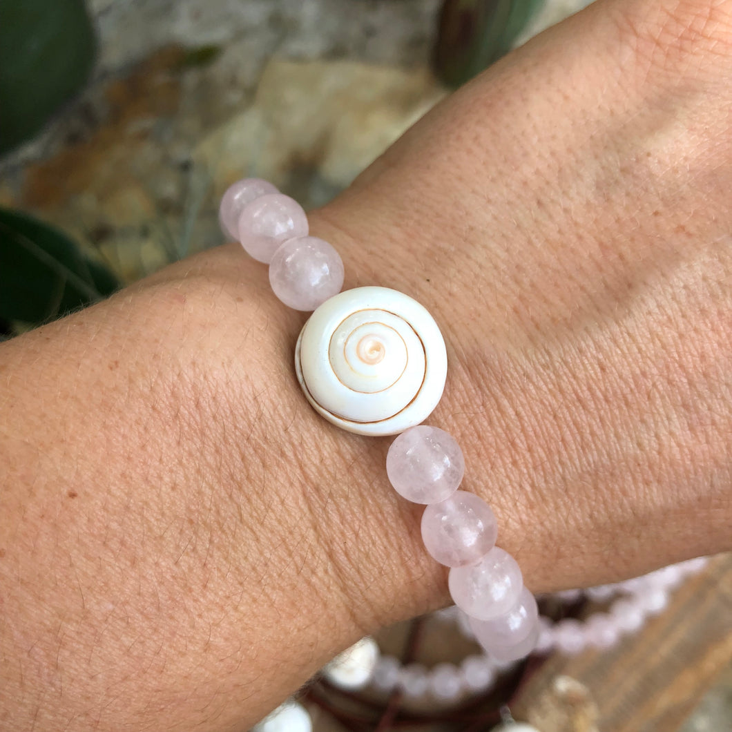 Rose Quartz and Shell Essential Oil Bracelets