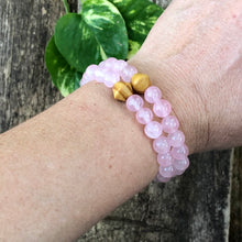 Rose Quartz and Wood Bracelet