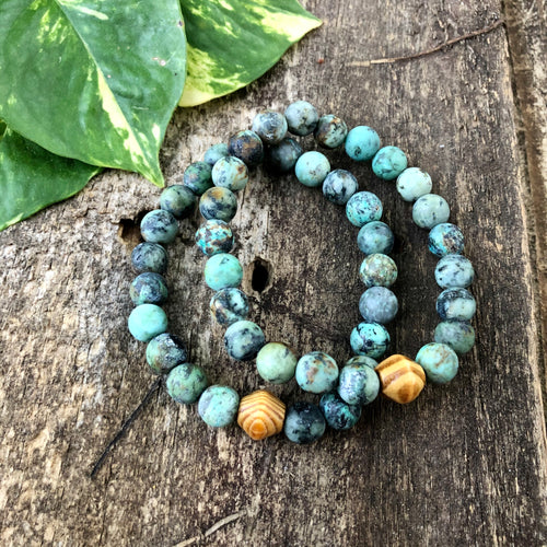 African Turquoise and Wood Bracelet