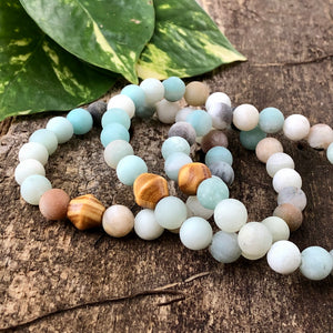 Amazonite and Wood Bracelet