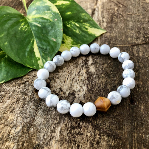 Howlite and Wood Bracelet