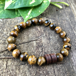Tiger's Eye and Wood Bracelet