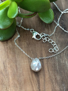 Pink Moonstone on Sterling Silver Chain