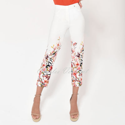 Robell Bella 09 - 7/8 Cropped Trouser - Style 51560-54870-10 (Off-White / Multi Floral)