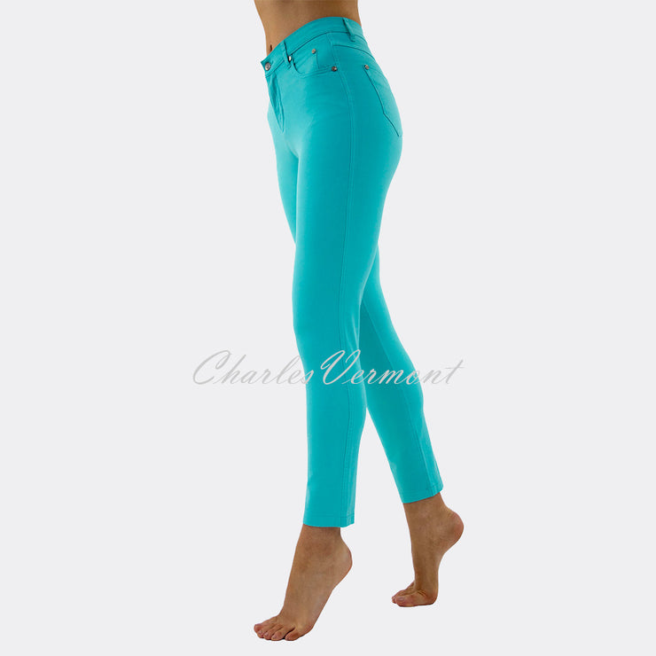 Marble Cropped Leg Skinny Jean – Style 2400-151 (Turquoise)