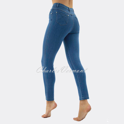 Marble Cropped Leg Skinny Jean – Style 2406-184 (Mid Denim Blue)