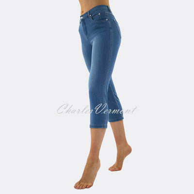 Marble Mid-Calf Cropped Leg Skinny Jean – Style 2410-184 (Mid Denim Blue)