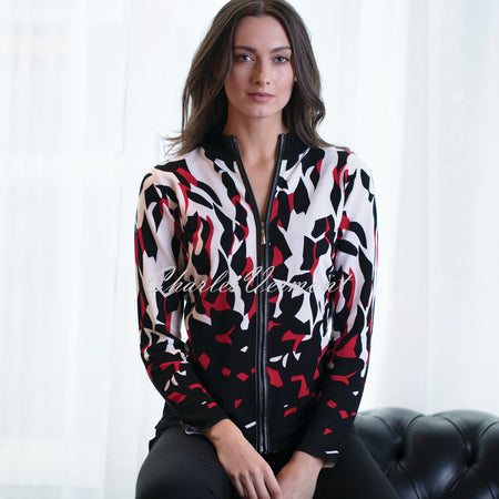 Marble Cardigan – Style 5398-109 (Black / Ivory / Red)