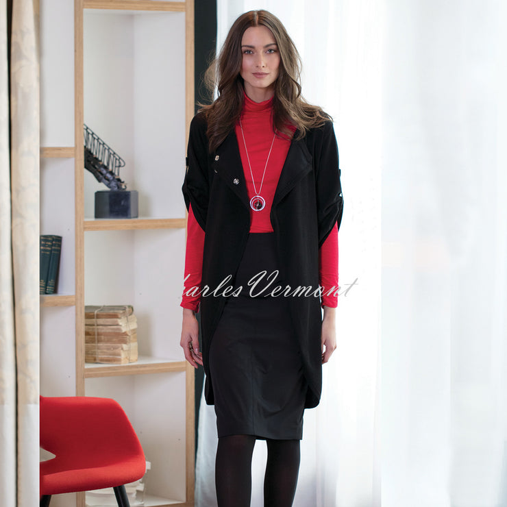 Marble Long-line Cardigan – Style 5422-101 (Black)