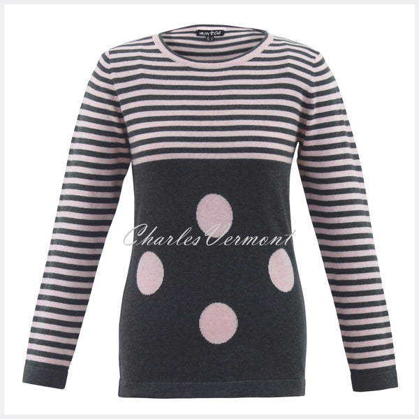 Marble Sweater – Style 5459-120 (Dark Grey / Pink)