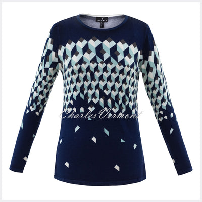 Marble Sweater – Style 5792-188 (Navy / Ice Green / White)