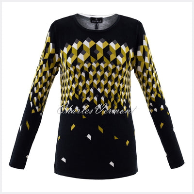 Marble Sweater - Style 5792-189 (Black / Chartreuse)