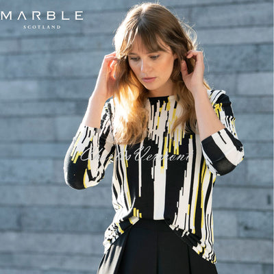 Marble Sweater - Style 5794-189 (Black / Off-White / Chartreuse)