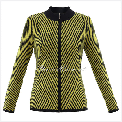 Marble Zip Cardigan - Style 5796-189 (Chartreuse / Black)