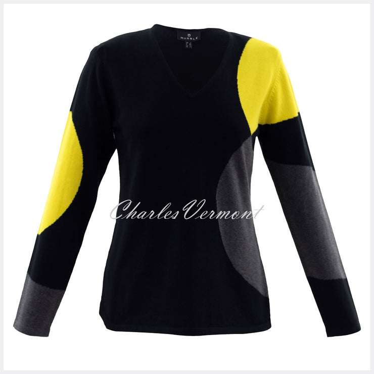 Marble Sweater – Style 5871-189 (Black / Charcoal / Chartreuse)