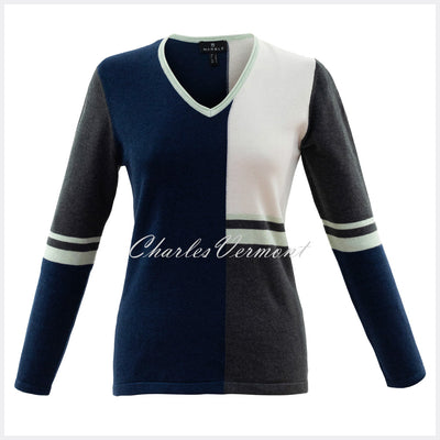 Marble Sweater – Style 5909-188 (Ice Green / Navy / Off White/ Charcoal)