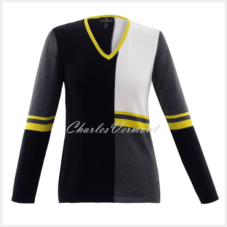 Marble Sweater – Style 5909-189 (Chartreuse / Charcoal / Black / Off White)