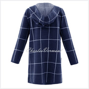 Marble Long-line Cardigan – Style 5919-103 (Navy / White)