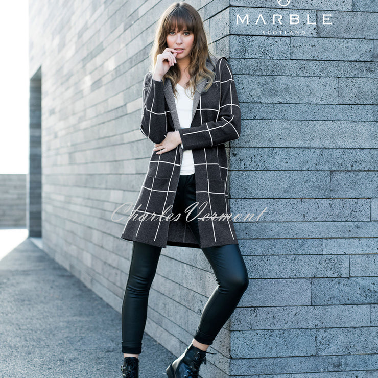 Marble Long-line Cardigan – Style 5919-105 (Charcoal / Off-White)