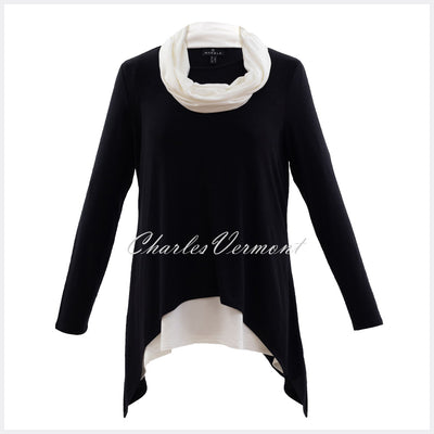 Marble Tunic with Vest Top and Scarf – Style 5931-104 (Black / Off White)