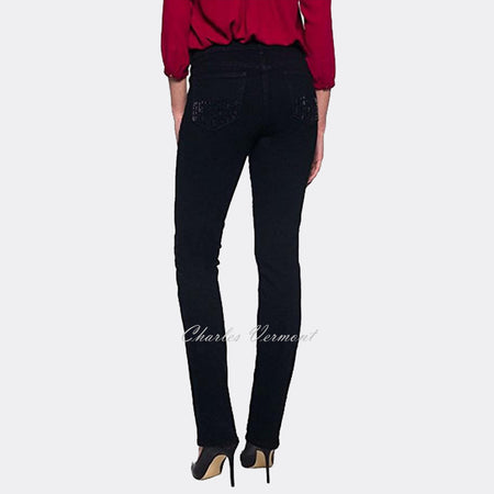 NYDJ M40Z1727 Straight Leg Jeans - Regular (Black with Rhinestones)