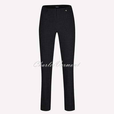 Robell Marie Full Length Trouser 51412-54012-90 Houndstooth (Black / Dark Grey)