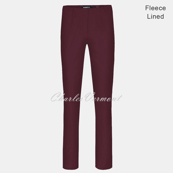 Robell Marie Full Length Trouser 51412-54025-560 - Fleece Lined (Aubergine)