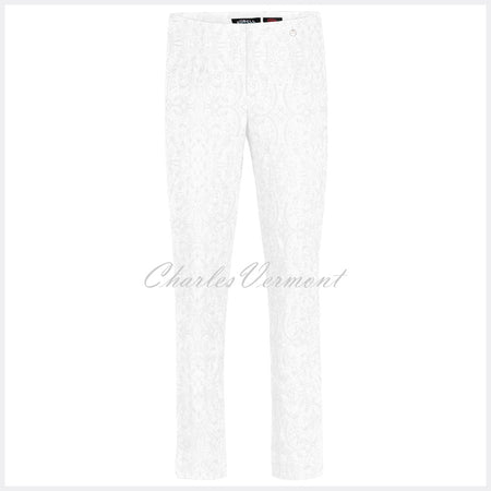 Robell Marie Full Length Trouser 51412-54145-10 (White Jacquard)